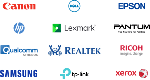 Collage logos brands Canon, Dell, Epson, HP, Lexmark, Pantum, Qualcomm, Realtek, Ricoh,. Samsung, TP-Link, Xerox