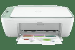 HP DeskJet 2724e printer, white / green.